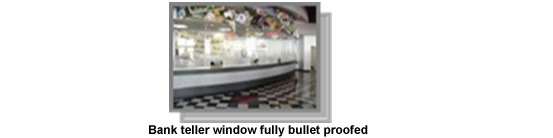 Bank teller window fully bullet proofed